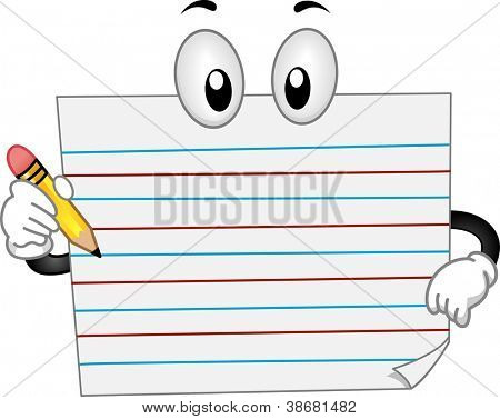 Mascot Illustration Featuring a Composition Paper Holding a Pencil