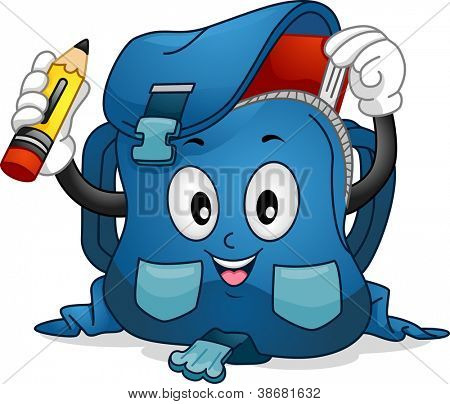 Mascot Illustration Featuring a School Bag Putting a Pencil and a Book Inside it