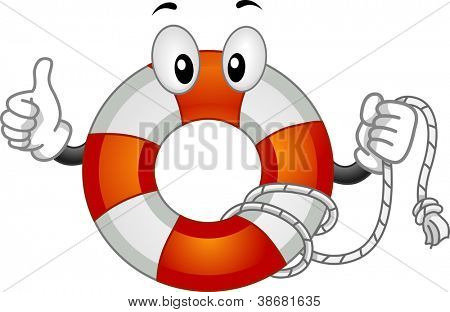 Mascot Illustration Featuring a Lifebuoy Doing a Thumbs Up