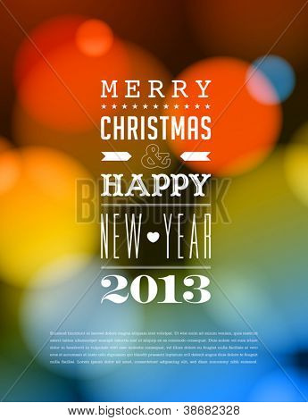 Merry Christmas and Happy New Year Card - Editable EPS10