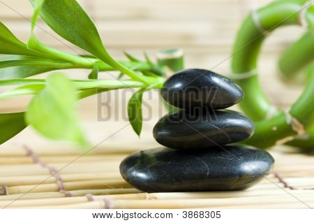 Balancing Pebbles With Bamboo