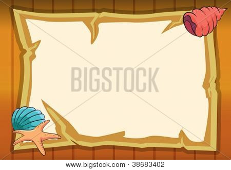 illustration of shell, a star fish and a map on a wooden background