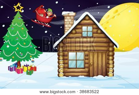 illustration of a christmas elve and a house