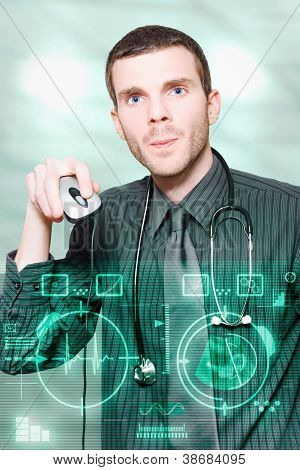 Futuristic Medicine Doctor Working With Interface