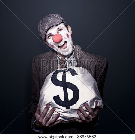 Bank Robber Clown Running With Bag Of Funny Money