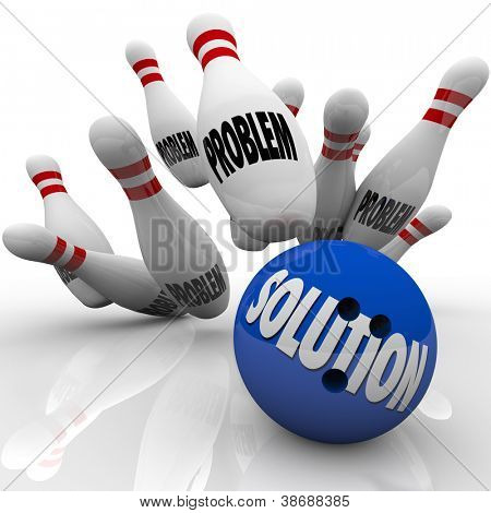 The word Solution on a blue bowling ball hitting pins with the word Problem on them to represent an answer to solve some trouble, issue or challenge and reach a goal