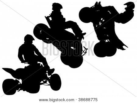 Vector drawing a sports extreme quadbike