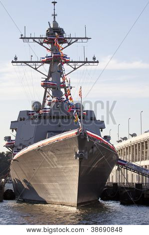 NEW YORK - OCT 6: USS Michael Murphy (DDG 112) docked at Pier 88 after a formal ceremony to commission it into service in New York on October 6, 2012. Lt Murphy was a Navy SEAL who died in combat.