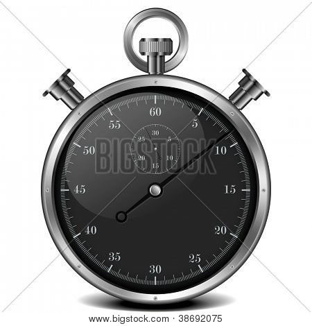 illustration of a metal analog stop watch
