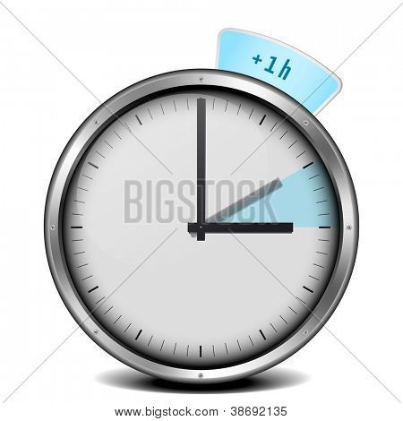 illustration of a clock with daylight saving time 1h