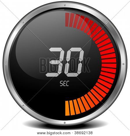 illustration of a metal framed digital stop watch showing 30s