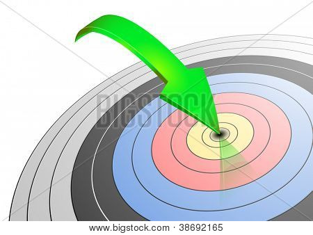 illustration of an archery target with a green arrow hitting the center