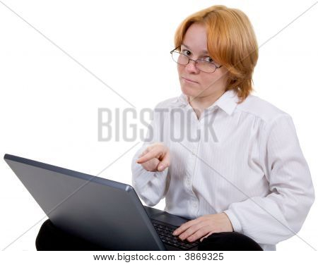 Girl Working On The Black Laptop