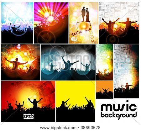 Music event illustration set
