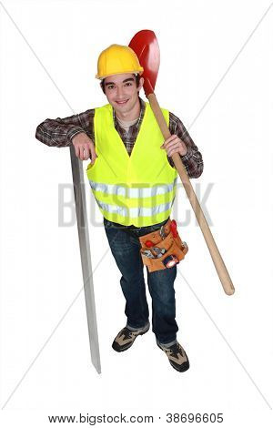 A young construction worker.