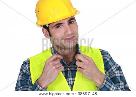 Workman in a reflective vest