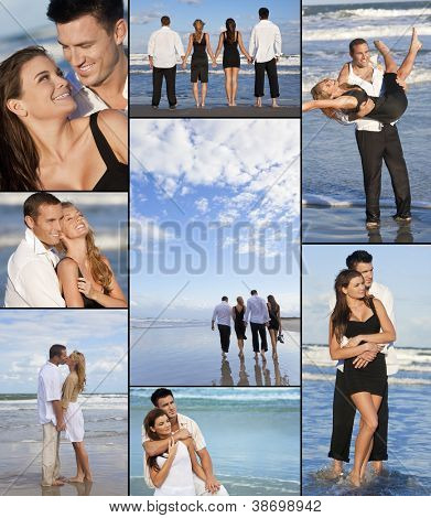 Four young people, two couples, holding hands, having fun and relaxing on a beach together in the summer sunshine in love