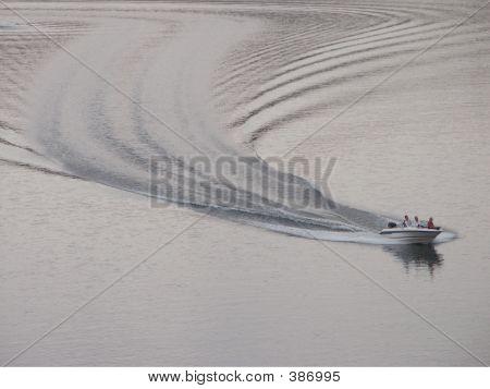 Boat Wake At Dusk