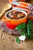 stock photo of stew pot  - Boeuf Bourguignon  with carrots - JPG