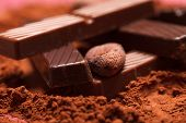 stock photo of cocoa beans  - chocolate with cocoa beans - JPG