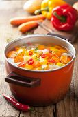 stock photo of vegetable soup  - vegetable soup in pot - JPG