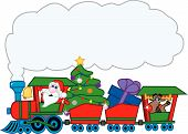 stock photo of caboose  - Santa Claus driving a Christmas train with a treeornaments a gift and the red - JPG