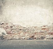 stock photo of wrecking  - Aged street wall background - JPG