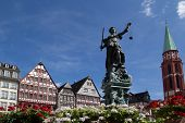 FRANKFURT, GERMANY - AUG 22: The Statue of Lady Justice in Romer Square on August 22, 2012 in Frankf