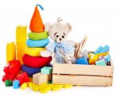 stock photo of child development  - Children toys with teddy bear and cubes - JPG