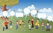 Group of cartoon people talking with speech balloon icons on green park