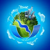 stock photo of solar battery  - Eco City concept - JPG
