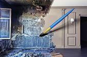 Постер, плакат: кисть рисование красивый интерьер над грязные изображения Концепция