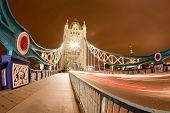 Tower Bridge Landmark of England United Kingdom at Night, Fish Eye Perspective poster
