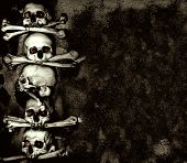 stock photo of mausoleum  - Grunge background with human skulls and bones - JPG