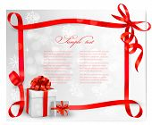 stock photo of illustration  - Holiday background with red gift bow with gift boxes - JPG