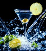 stock photo of cosmopolitan  - fresh coctail on the black background - JPG