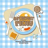 stock photo of continental food  - Breakfast Menu Card Design template - JPG