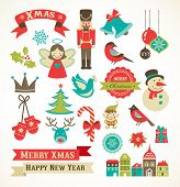 stock photo of holly  - Christmas retro icons - JPG