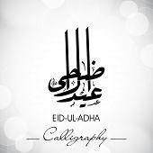 Eid-Ul-Adha or Eid-Ul-Azha, Arabic Islamic calligraphy for Muslim community festival. EPS 10.