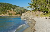 The Deception Pass Bridge bridge connecting Whidbey Island to Fidalgo Island in the U.S. state of Washington poster