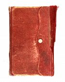 stock photo of leather-bound  - leather bound very old note book on white - JPG