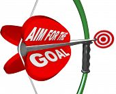 A red arrow with the words Aim for the Goal and aiming at a red target bulls-eye to symbolize compet