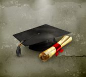 stock photo of credential  - Graduation cap and diploma - JPG