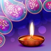 stock photo of diya  - vector diwali diya background illustration - JPG