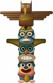 picture of indian totem pole  - an Indian totem pole with four faces the top one a bird - JPG