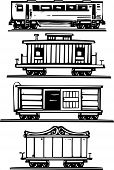 stock photo of boxcar  - Woodcut style images of railroad passenger circus boxcars and caboose - JPG