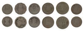 stock photo of asoka  - Indian rupee coins isolated on white - JPG