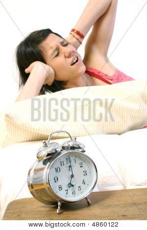 Panic Woman With Alarm Clock