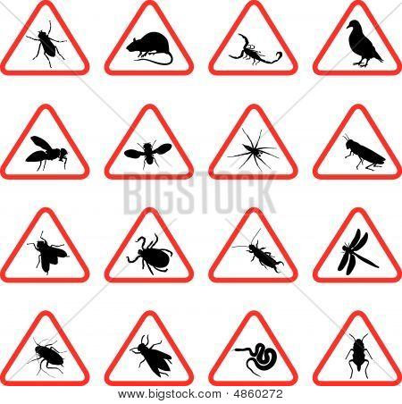 Rodents And Pests With Warning Signs