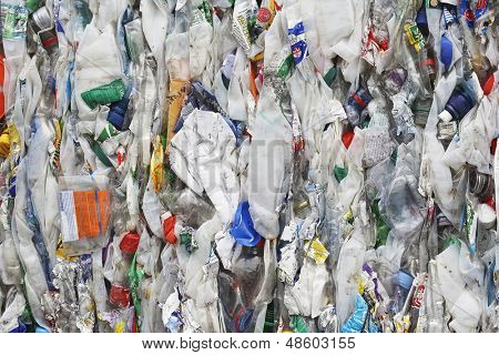 Full frame image of compacted rubbish at recycling plant